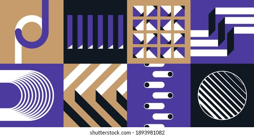 Abstract geometric vector pattern in Neo-Geo style. Layered file.