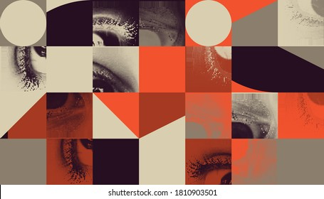 Abstract geometric vector pattern with transition effect. Geometrical composition, useful for web design, business card, invitation, poster, textile print, background.