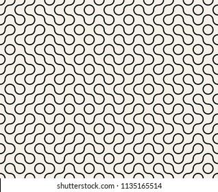 Abstract Geometric Vintage Truchet Seamless Pattern. Vector Illustration.