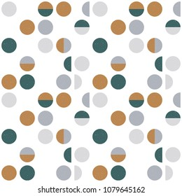 Abstract geometric wallpaper with semi circles and circles. Seamless pattern in scandinavian style. Vector background.