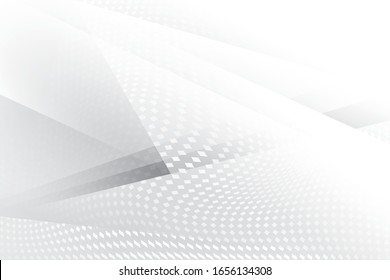 Abstract geometric white and gray color background with halftone effect. Vector, illustration.