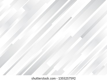 Abstract geometric white and gray diagonal stripes lines modern background. Vector illustration
