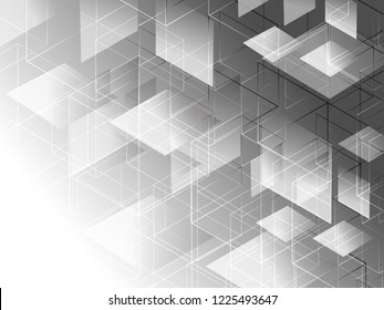 Abstract geometric white and gray with space modern design on Light gray background, vector illustration