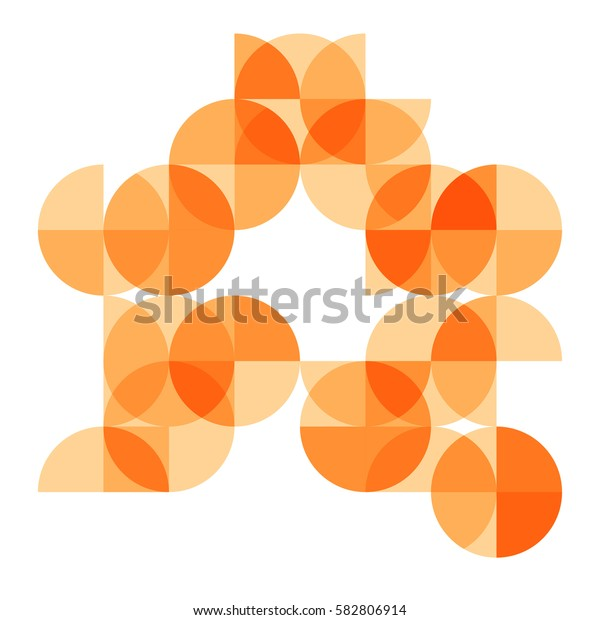 abstract geometrical background with bright orange circle segments and sectors. vector illustration