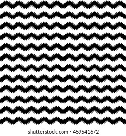 Abstract geometrical black and white pattern. Vector scallop waves background.
