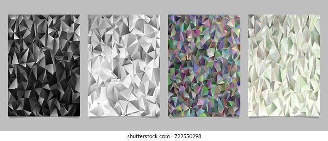 Abstract geometrical chaotic triangle pattern page template set - vector poster, brochure background graphic designs