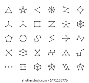 Abstract geometrical flat icons set. Circles connected with lines shapes, variety concept, topology network vector illustrations. Outline signs website category.