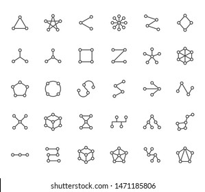 Abstract geometrical flat icons set. Circles connected with lines shapes, variety concept, topology network vector illustrations. Outline signs website category. Editable Strokes.