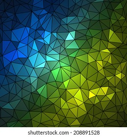 Abstract geometrical multicolored background consisting of bright triangular elements arranged on a black background. Vector illustration.