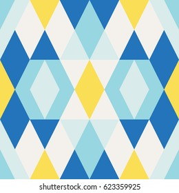 Abstract geometrical pattern with triangles. Vector seamless texture with colorful geometrical shapes.
