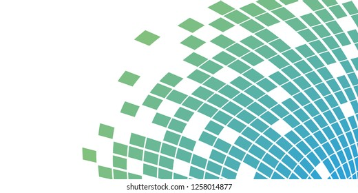 Abstract geometrical quadrilateral polygonal squares in green/blue color tones. Design for banner, web, media or business cards. Vector.