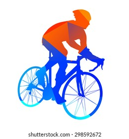 Abstract geometrical road bicycle rider