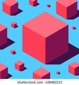 Abstract geometry composition of various sizes red cubes on light blue background. Retro design concept. Clipping mask used!