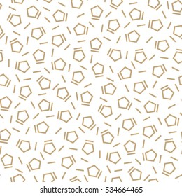 Abstract geometry gold deco art memphis fashion pentagon pattern
