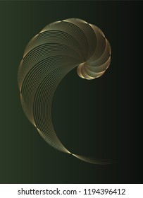 Abstract geometry. Golden ratio in golden lines on dark green background