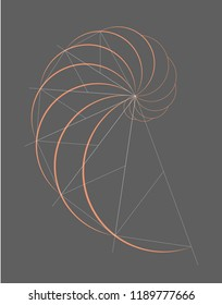 Abstract geometry. Golden ratio in orange color on dark grey background