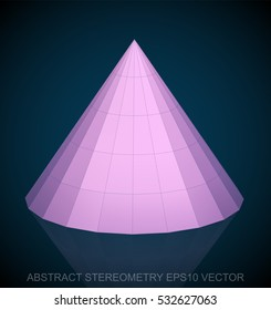 Abstract geometry: low poly Pink Cone. 3D polygonal object, EPS 10, vector illustration.