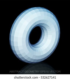 Abstract geometry: low poly White Torus. 3D polygonal object, EPS 10, vector illustration.