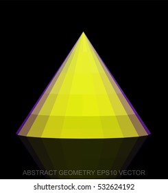 Abstract geometry: low poly Yellow Cone. 3D polygonal object, EPS 10, vector illustration.