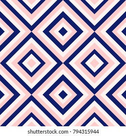 Abstract geometry in navy blue and blush pink. Seamless vector background.