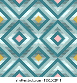 Abstract geometry in retro colors, diamond shapes geo pattern. Seamless vector pattern. Mint and coral pink background. Fashion fabric pattern design. Retro mid century wallpapers