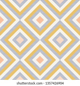 Abstract geometry in retro colors, diamond shapes geo pattern. Seamless vector pattern. Navy blue, mustard yellow and coral pink background. Fashion fabric pattern design. Retro midcentury wallpapers