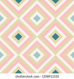 Abstract geometry in retro colors, diamond shapes geo pattern. Seamless vector pattern. Mint and coral pink background. Fashion fabric pattern design. Retro midcentury wallpapers
