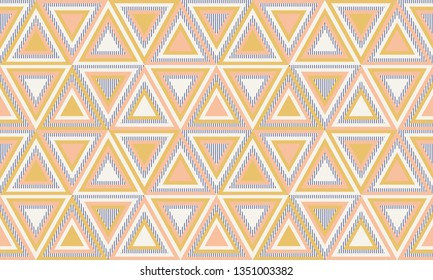 Abstract geometry in retro colors, geometric shapes geo pattern. Seamless vector pattern. Mustard yellow and coral pink background. Fashion fabric pattern design. Retro mid century wallpapers