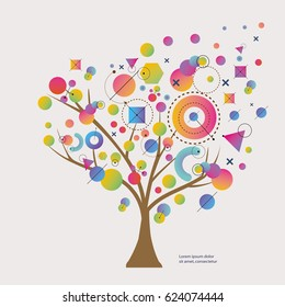 Abstract Geometry Shapes Form a Tree. Vector Illustration.