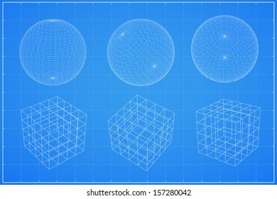 Abstract geometry wireframe, Spheres and cubic - Vector illustration