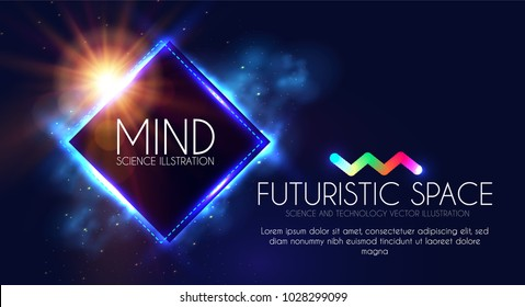 Abstract Geomrtic Banner with Neon Lights. Trendy Party Poster Template. Futuristic Space. Magic and Mystery Design. Vector illustration