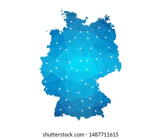 Abstract Germany Map geometric rumpled triangular low poly style gradient graphic on white background , line dots polygonal design for your . Vector illustration eps 10