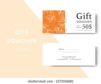 Abstract gift voucher card template. Modern discount coupon for shopping with abstract pattern. Modern fashion background design with information sample text. Coupon template for gift and shopping.