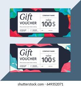 Abstract gift voucher or leaflet on low poly layout. Creative vector discount coupon template. Modern geometric background for sale certificate.