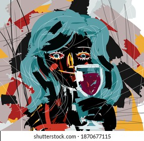 abstract girl drinking a glass of wine