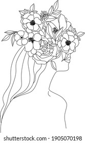 Abstract girl with flowers by one line vector drawing. Portrait minimalistic style. Botanical print. Nature symbol of cosmetics. Modern continuous line art. Fashion print. Beaty salon