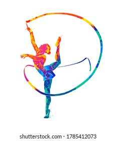 Abstract girl gymnast with ribbon from splash of watercolors. Vector illustration of paints