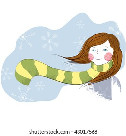 Abstract girl in the snow