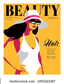 Abstract girl wearing swimsuit, sunglasses and big hat. Woman fashion magazine cover design for summer holiday season. Vector illustration