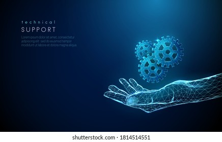 Abstract giving hand with cogwheels. Low poly style design. Blue blood donor day concept. Modern 3d graphic geometric background. Wireframe light connection structure. Isolated vector illustration