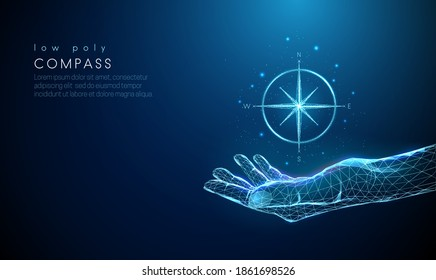 Abstract giving hand with compass. Low poly style design. Hello winter concept. Modern 3d graphic geometric background. Wireframe light connection structure. Isolated vector illustration.