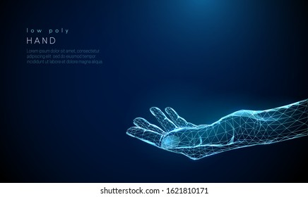 Abstract giving hand. Low poly style design. Blue geometric background. Wireframe light connection structure. Modern 3d graphic concept. Isolated vector illustration.