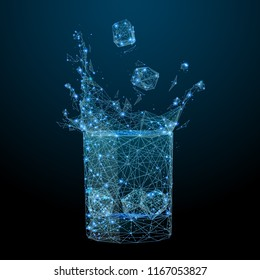 Abstract of a glass of drink ice with splash in the form of a starry sky or space, consisting of points, lines, and shapes in the form of planets, stars and the universe. Alcohol vector wireframe