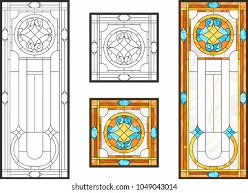Abstract glass panels geometric floral pattern in a rectangular and square frame / Colorful stained glass window in classic style for ceiling or door panels, Tiffany technique. Detailed vector set.