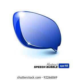Abstract Glass Speech Bubble Blue