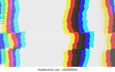 Abstract glitch digital color pixel noise. Background of the damaged error television image. Vector illustration.