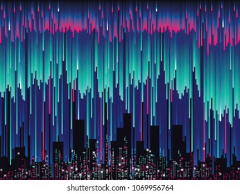 Abstract glitch, futuristic city vector illustration created from vertical gradient strokes