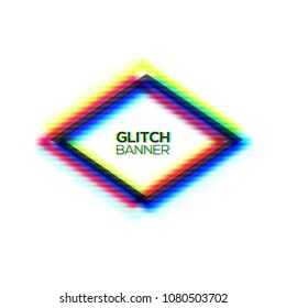 Abstract glitch texture polygon frame. Geometric style art. Distorted modern rhombus shape background with glitch effect. Broken sign rhomboid concept rgb cmyk channel. Color vector illustration.