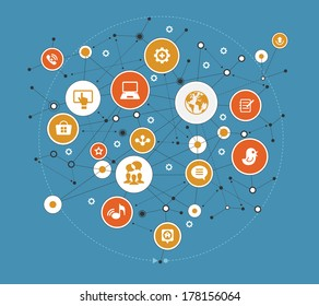 Abstract global computer network. Internet concept. Network background with nodes, social media and communication icons.