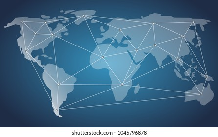 Abstract Global Digital Network Business Connections, Social Media Concept Design, Cloud Computing and Networks with World Map, Networks Structure, Telecommunications Concept Design, Network Connectio